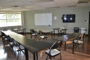 First aid and CPR training classroom in Mississauga, Ontario.