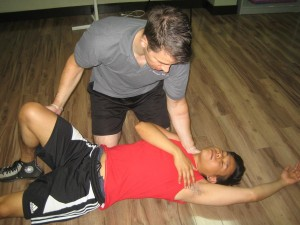 Placing someone in the recovery position